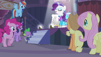 Spike pushing a staircase S4E13