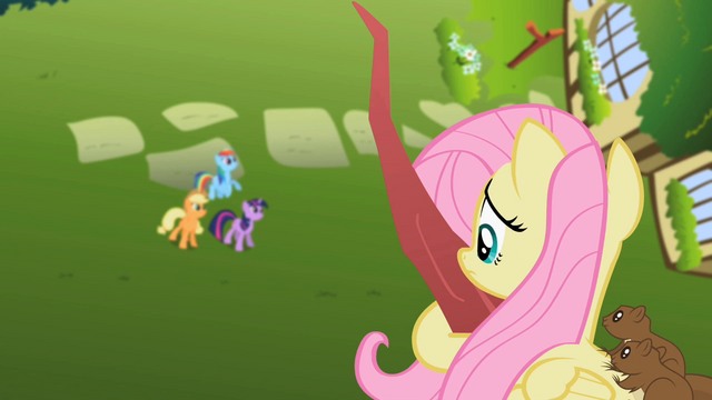 File:Fluttershy on a tree with squirrels S2E10.png