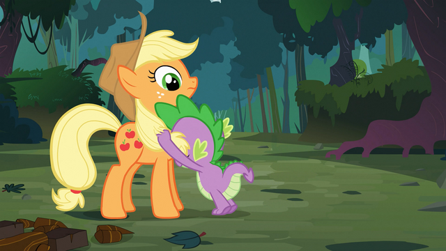 File:Spike clutches Applejack's mane S03E09.png
