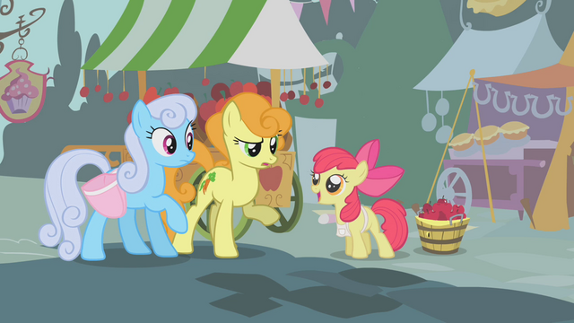 File:Apple Bloom selling apples to Golden Harvest and Shoeshine S01E12.png