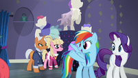 Rainbow pointing at RFY salesponies S6E9