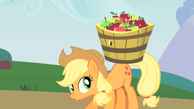File:Applejack carrying a basket of apples S1E15.png