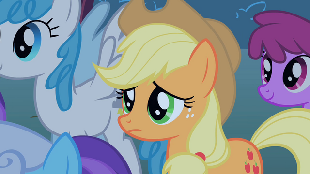 File:Applejack watches the CMC embarrassed S1E18.png