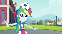 Rainbow Dash with soccer ball on her head EG2