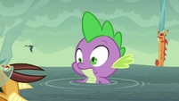 Spike watches armored dragon fall in the water S6E5
