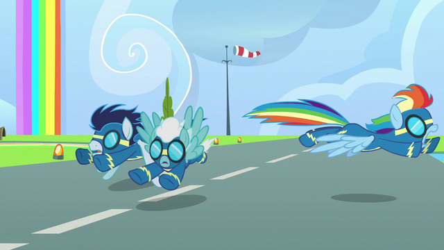 File:Rainbow barely avoids Soarin and Fleetfoot S6E7.png