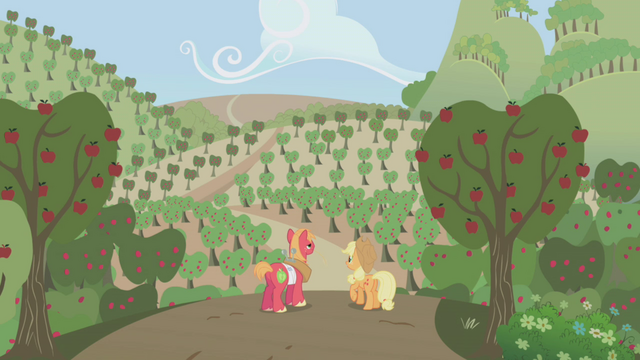 File:Applejack and Big Mac looking out at apple crop S1E04.png