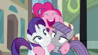 Pinkie Pie hugs Rarity and Maud S6E3