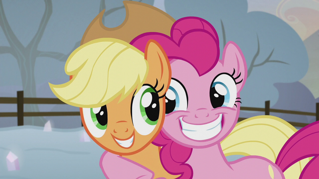 File:Applejack and Pinkie smiling together S5E20.png