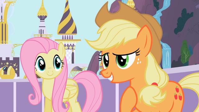 File:Fluttershy and Applejack S02E09.png