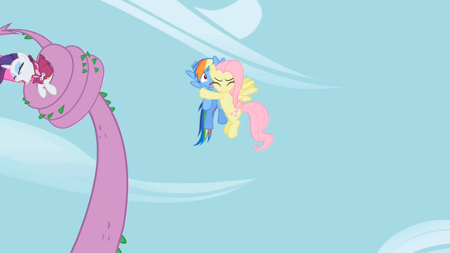 File:Fluttershy hugs Rainbow Dash S02E10.png