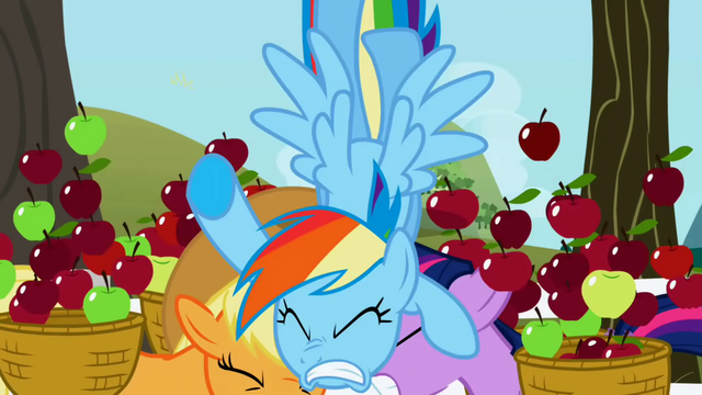 File:Rainbow Dash crashes into Applejack and Twilight S1E03.png