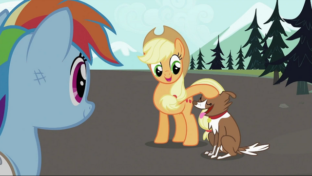 File:Applejack petting Winona S2E07.png