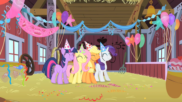 File:Main cast in Pinkie's party S1E25.png