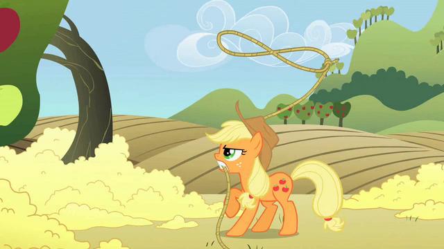 File:Applejack twirling lasso S2E01.png