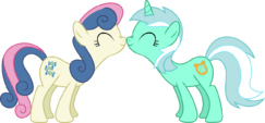 Bon Bon and Lyra nuzzle