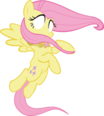 Fluttershy hovering with her eyes glowing