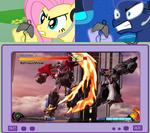 UNOPT safe fluttershy princess-luna tv-meme transformers gamer-luna optimus-prime megatron gamershy street-fighter transformers-prime video-games shoryuken