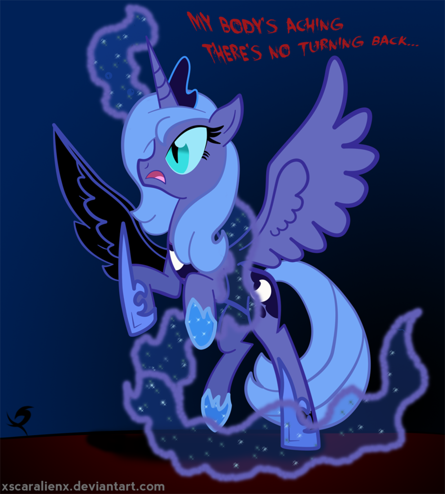 Nightmare moon coloring page - Image Luna Becoming Nightmare Moon Png My Little Pony Fan Labor Wiki Fandom Powered By Wikia