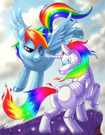 Rainbow Dash flying next to Metal Rainbow Dash