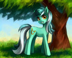 Lyra next to a tree