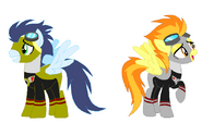 Soarin and Spitfire as Go-On Gold and Go-On Silver