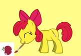 Apple Bloom painting an apple
