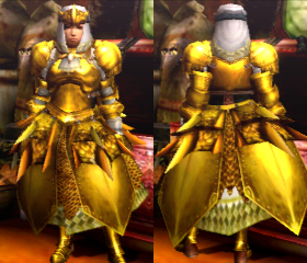 MH4U Female Golden Lune (Blademaster)