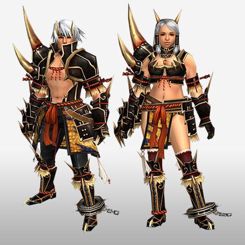 File:FrontierGen-Kishin Armor (Blademaster) and Doji Armor (Gunner) (Front) Render.jpg