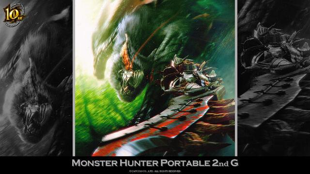 File:MH 10th Anniversary-Monster Hunter Freedom Unite Wallpaper 001.jpg