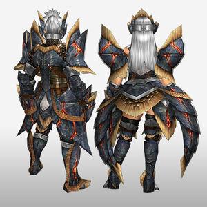 FrontierGen-Myuzu Armor (Blademaster) and Zere Armor (Gunner) (Back) Render