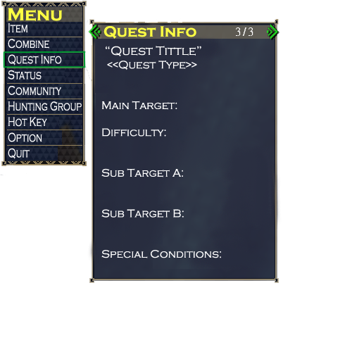 Main Menu Quest Info