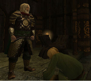 Bowing before King Theoden of Rohan