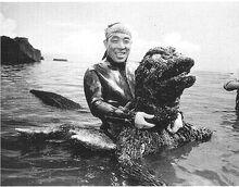 Haruo with Godzilla costume