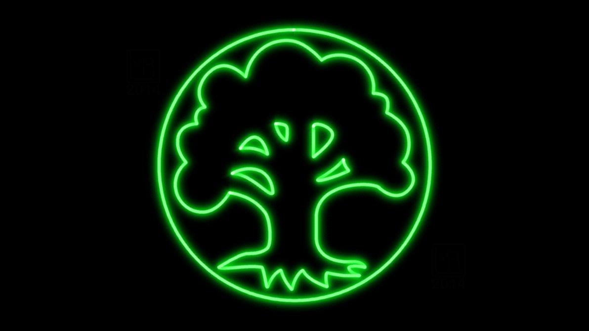 Image Magic The Gathering Green Mana Symbol Neon Wp By