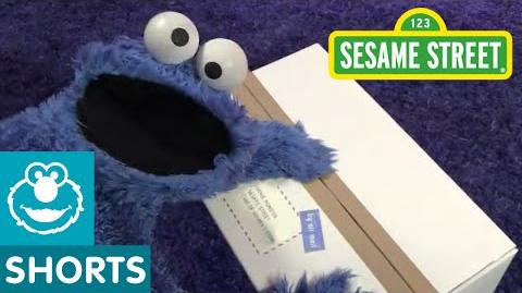 Sesame Street Cookie Monster Unboxing a Package from the UK