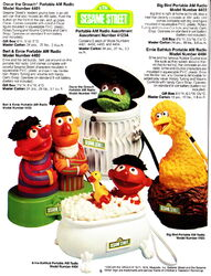 Concept 2000 - 1977 portable am radios oscar the grouch bert and ernie ernie bathtub big bird