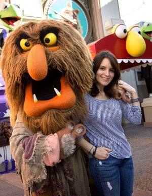 Tina Fey and walkaround Sweetums 2014