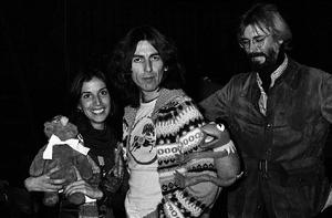 George Harrison and Michael Frith November 19, 1976 Saturday Night Live studios