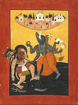 File:250px-Varaha avtar, killing a demon to protect Bhu, c1740.jpg