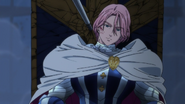Gilthunder dodging Meliodas' returned spear