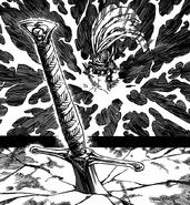 Gilthunder sticking the sword into the ground