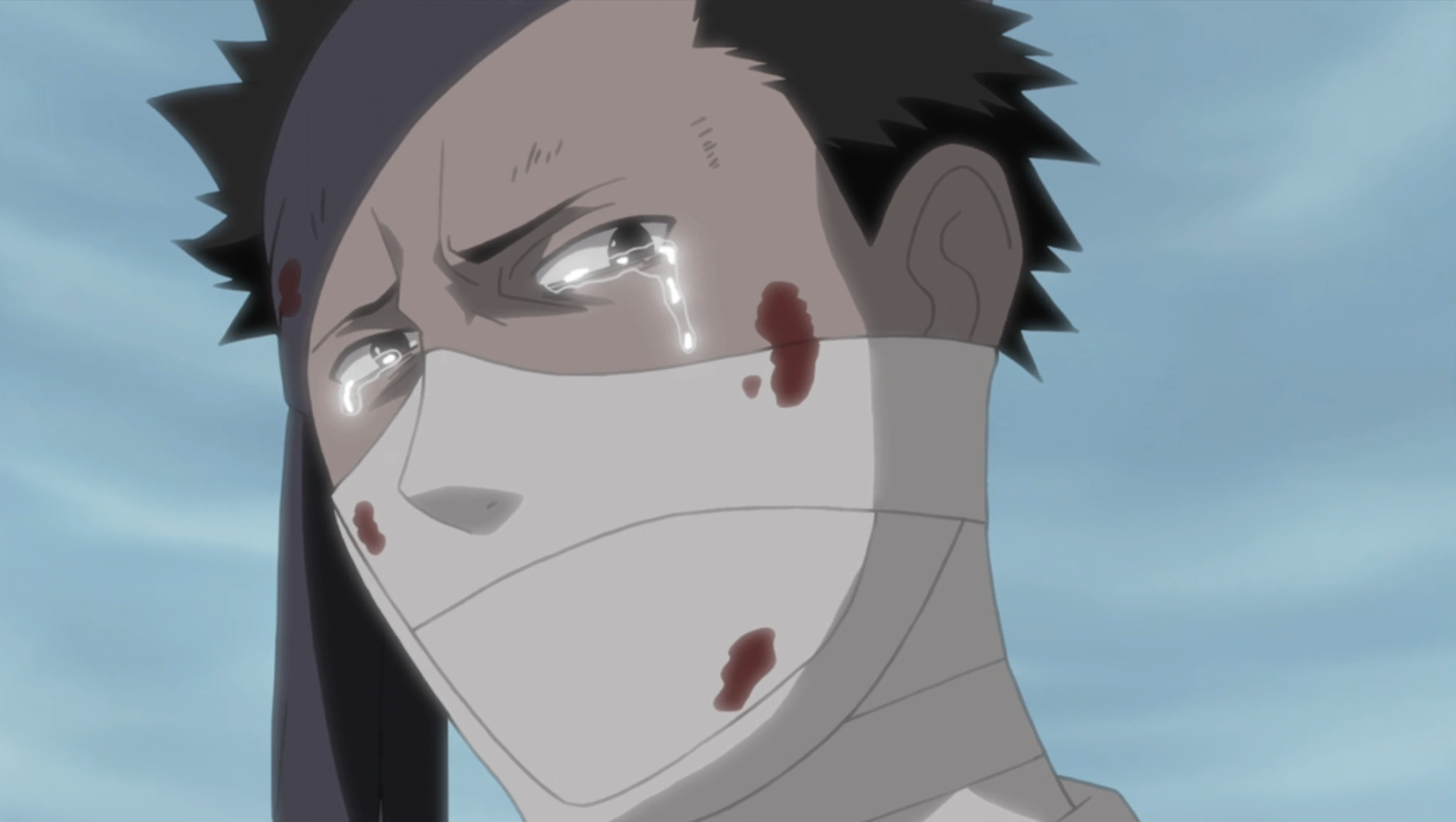 Zabuza Demon Face Zabuza crying after hearing