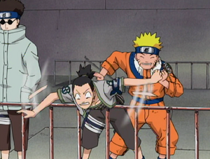 Shikamaru Being Hit Into The Arena