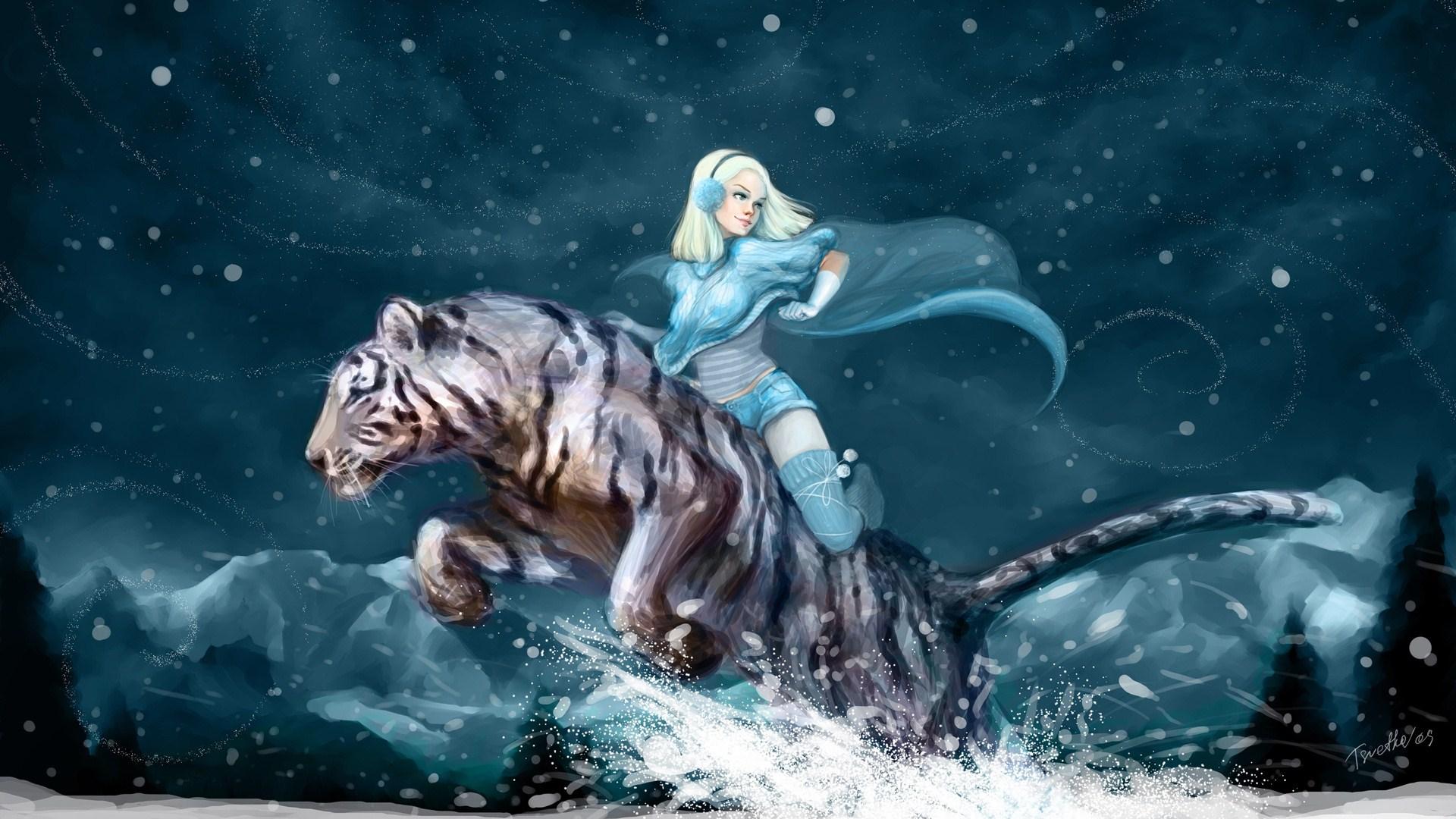 image   anime girl white tiger winter snow mountains night
