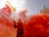 Communist waving flag