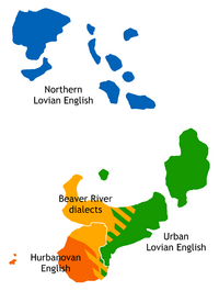 Dialect map of Lovia