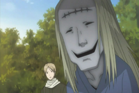 Natsume aware the stitch mark youkai behind him