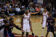 LeBron James watches free throw