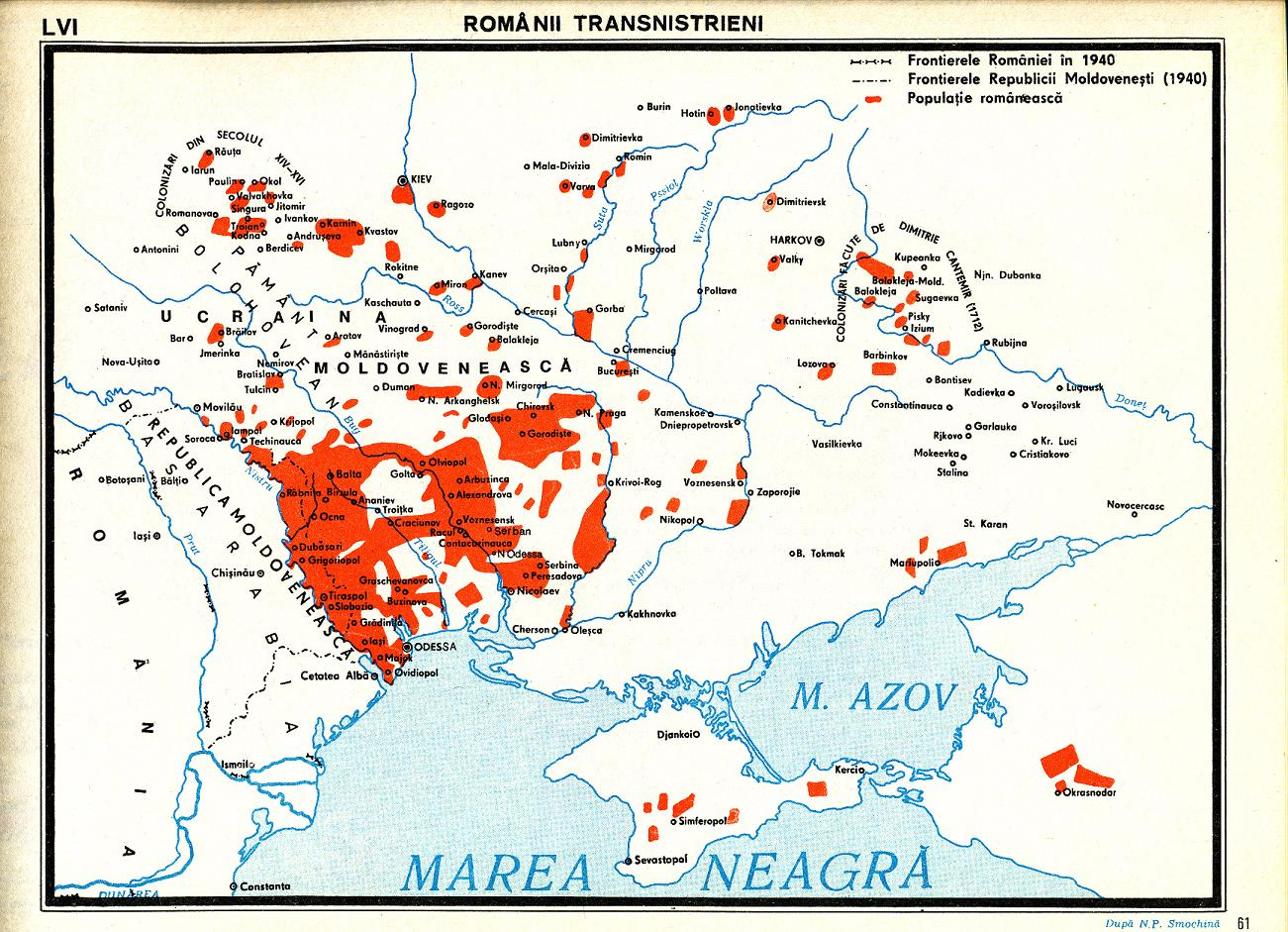 Romanii din Transnistria Harta Etnica Romania Mare Basarabia Pamant Romanesc.JPG